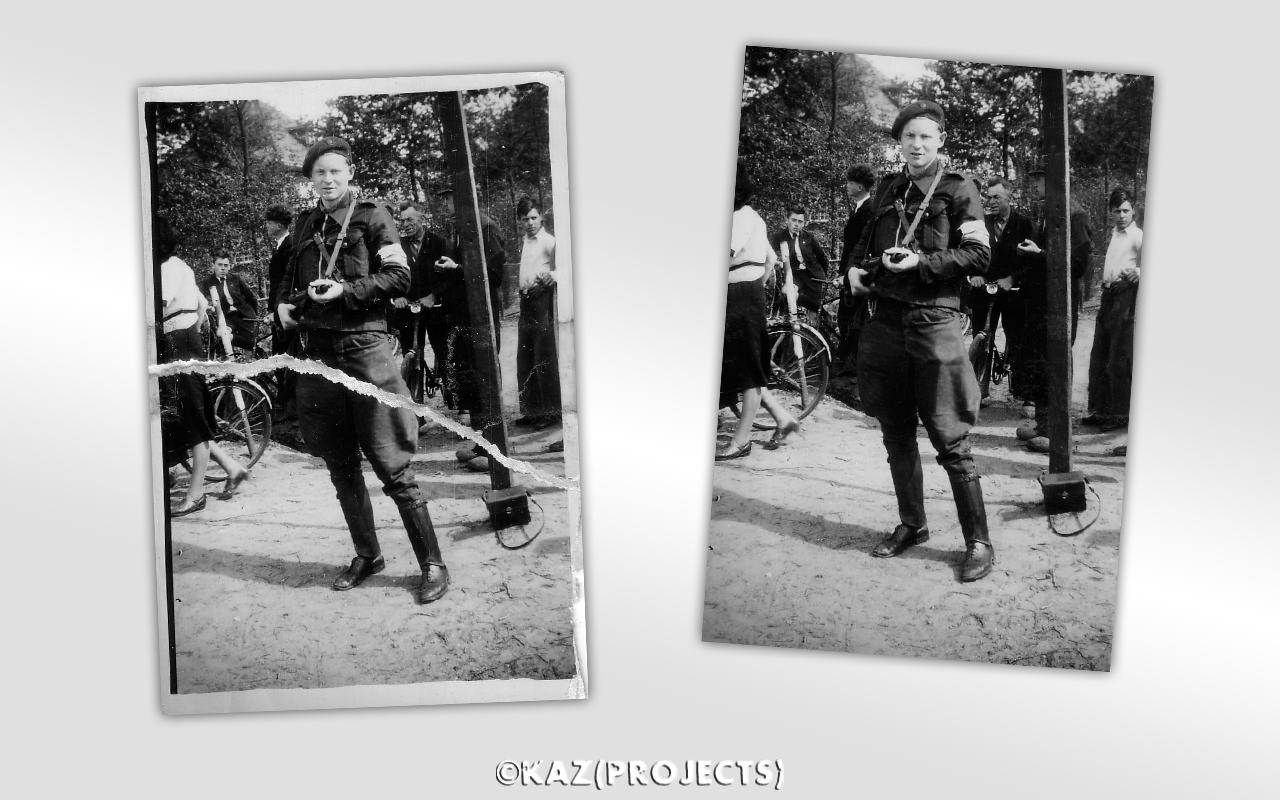 Dhr. Klaas Reerds - Foto retouche. Links het beschadigde origineel, rechts de herstelde foto.