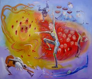 Popkoor Interval - Origineel schilderij van Rosemarie Burgman